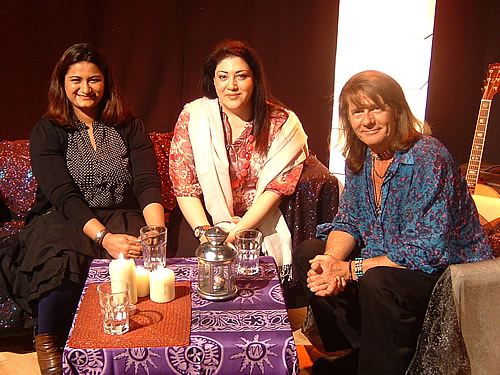 Tania Ahsan and Sahar Huneidi with Nick Ashron on Nick Ashron's Lightworker's Guide to the Galaxy TV Show